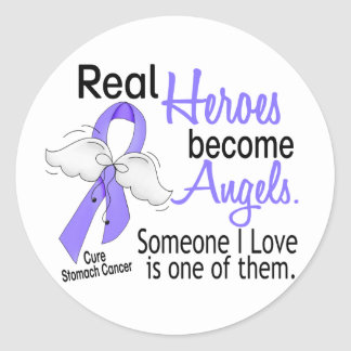 Real Heroes Become Angels Stomach Cancer Round Sticker