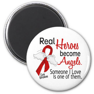 Real Heroes Become Angels Stroke 2 Inch Round Magnet