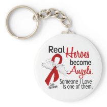 Real Heroes Become Angels Stroke Keychain