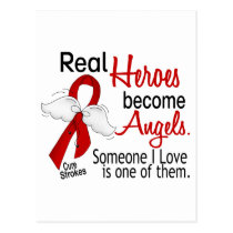 Real Heroes Become Angels Stroke Postcard