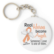 Real Heroes Become Angels Uterine Cancer Keychain