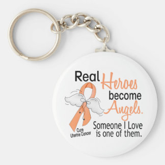 Real Heroes Become Angels Uterine Cancer Key Chains