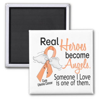 Real Heroes Become Angels Uterine Cancer Refrigerator Magnets