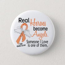 Real Heroes Become Angels Uterine Cancer Pinback Button
