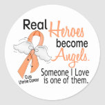 Real Heroes Become Angels Uterine Cancer Round Stickers