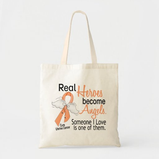 Real Heroes Become Angels Uterine Cancer Tote Bag