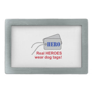 REAL HEROES WEAR DOG TAGS RECTANGULAR BELT BUCKLES