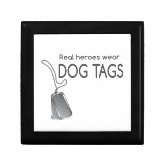 Real heroes wear dog tags keepsake box