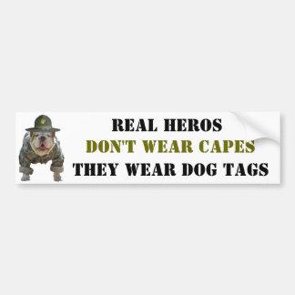 Real Heros Wear Dog Tags Bumper Sticker