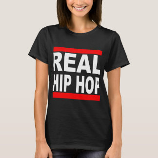 Real Hip Hop Black Tee Black Background  Womens