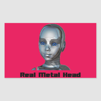 Real Hot Metal Head Rectangular Sticker