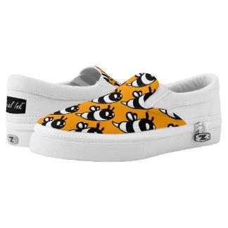 Real Ink™ Cartoon Bee Honey Orange Slip Ons Printed Shoes