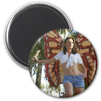 Real-Life Fairy Standing in Tree 2 Inch Round Magnet