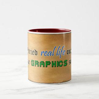 Real Life Graphics Suck Two-Tone Coffee Mug