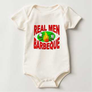 Real Men Barbeque. Funny Design for The BBQ King. Baby Bodysuit