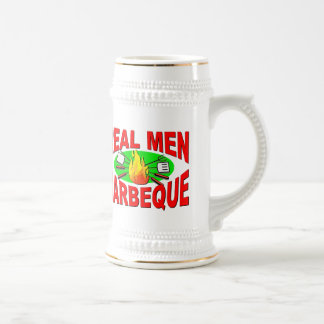 Real Men Barbeque. Funny Design for The BBQ King. Beer Stein