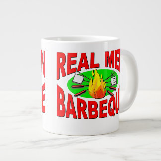 Real Men Barbeque. Funny Design for The BBQ King. 20 Oz Large Ceramic Coffee Mug