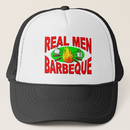 Real Men Barbeque. Funny Design for The BBQ King. Trucker Hat