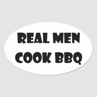Real Men Cook BBQ Oval Sticker