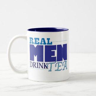 Real Men Drink Tea (blue) Two-Tone Coffee Mug