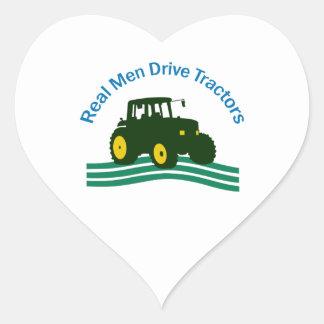 REAL MEN DRIVE TRACTORS HEART STICKER