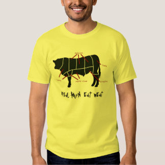 Real Men Eat Meat! Funny  Beef Cuts Butcher Chart T Shirt