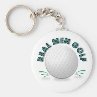 Real men golf basic round button keychain
