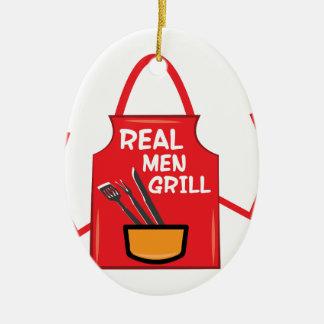 Real Men Grill Ceramic Ornament