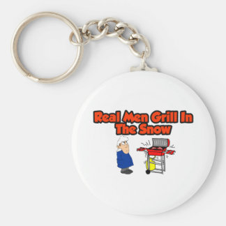 Real men grill in the snow key chains
