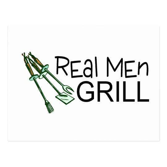 Real Men Grill Postcard