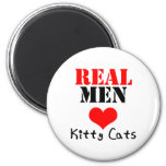 Real Men Heart (Love) Kitty Cats 2 Inch Round Magnet