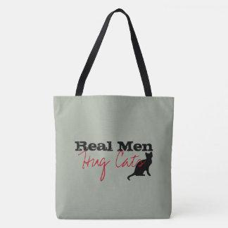 Real Men Hug Cats Kitty Love Funny Tote Bag