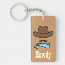 Iconic Cowboy Moustache Rectangle Keychain (double-sided)