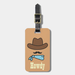 Small Luggage Tag with leather strap with Iconic Cowboy Moustache design