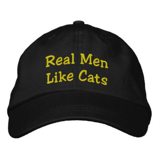 Real Men Like Cats Embroidered Baseball Hat