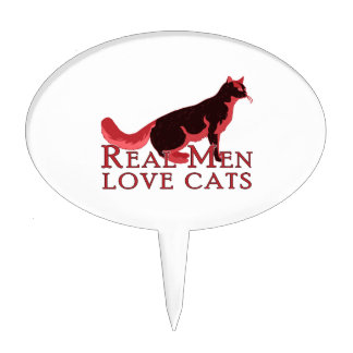 Real Men Love Cats 2 Cake Topper