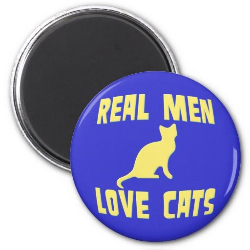 Real Men Love Cats 2 Inch Round Magnet
