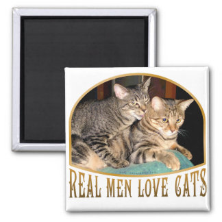 Real Men Love Cats 2 Inch Square Magnet