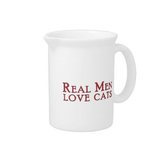 Real Men Love Cats 3 Drink Pitcher