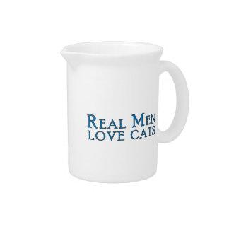 Real Men Love Cats 4 Beverage Pitcher