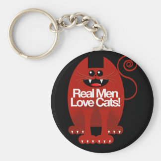 REAL MEN LOVE CATS BASIC ROUND BUTTON KEYCHAIN
