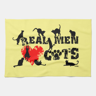 Real men love cats, cats have 9 lives hand towel
