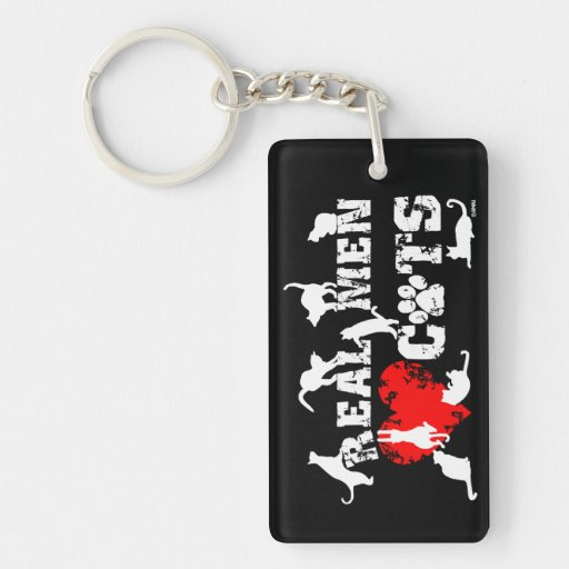 Real men love cats, cats have 9 lives keychain