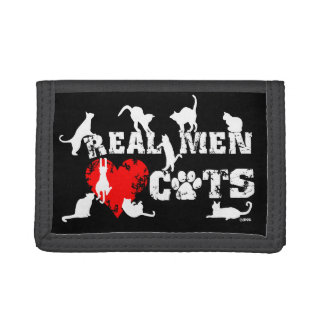Real men love cats, cats have 9 lives trifold wallet