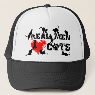 Real men love cats, cats have 9 lives trucker hat