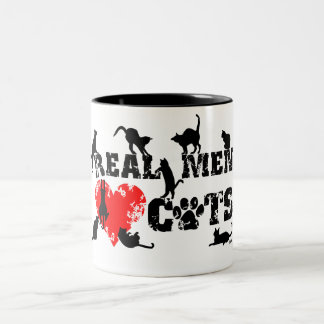 Real men love cats, cats have 9 lives Two-Tone coffee mug