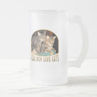 Real Men Love Cats Frosted Glass Beer Mug
