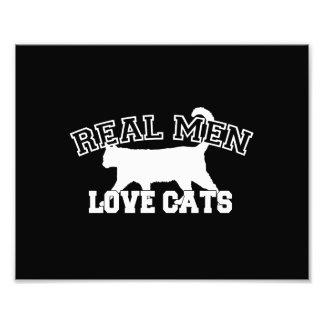 Real Men Love Cats Graphic Design on Black Decor Photo Print