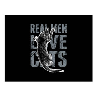 Real Men Love Cats in Distressed Style Postcard