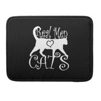 Real Men Love Cats on Black MacBook Pro Sleeve
